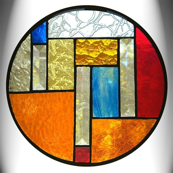 Round Amber Stained Glass Panel