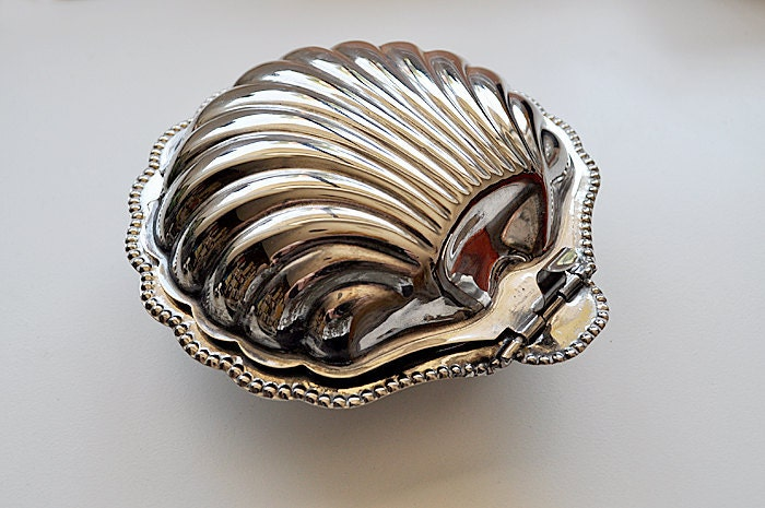 Vintage English Silver Clam Shell Butter Dish
