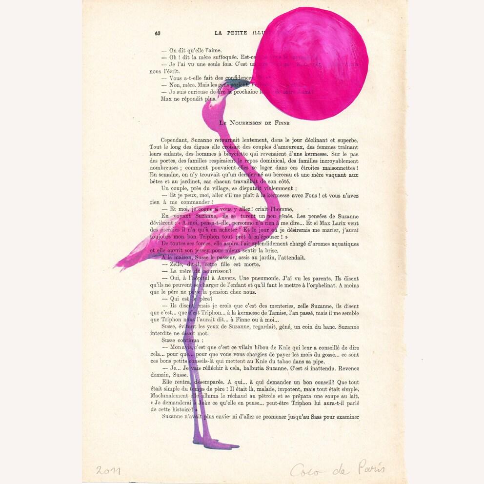 """Фламинго с жевательная резинка, оригинальные произведения искусства ручной росписью Смещаная 'La Petit Иллюстрация """"1920 известный журнал Parisien"""