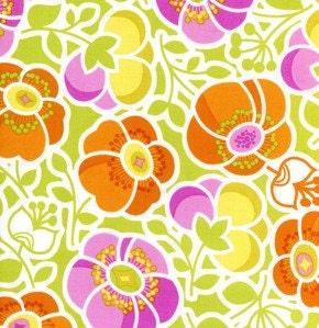 WILDWOOD by Erin McMorris, Sophie's Garden in orange 1 yard