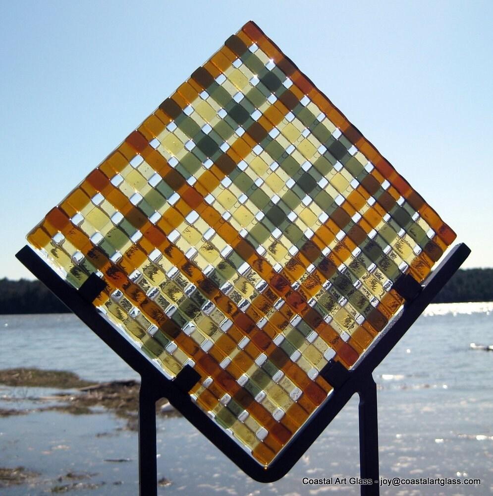 Glass Garden Sculpture Wrought Iron Stand Needs Light  Brown Beige Green Colors - coastalartglass