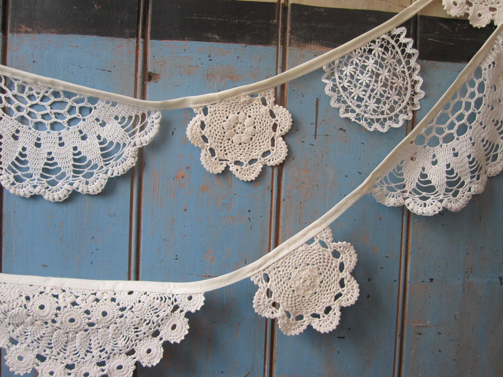 Vintage Doily Bunting.  Crochet Vintage  doilies in off White. - buntingboutique