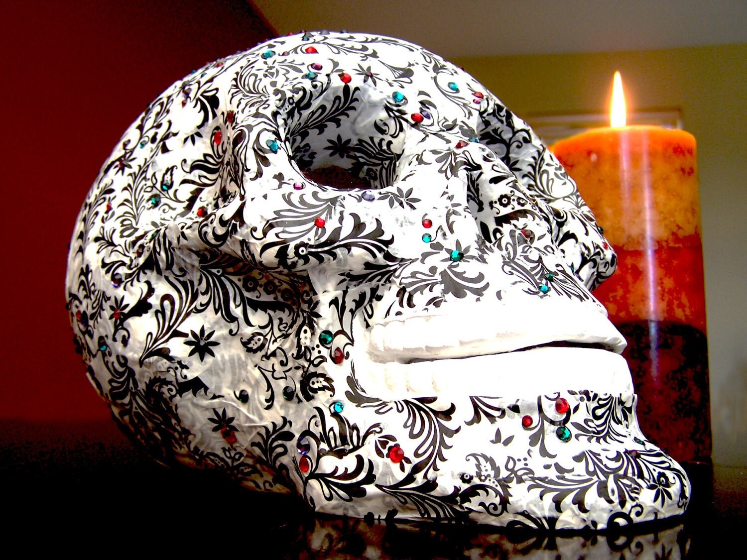 Black and white dia de los Muertos Skull with Swarovski Crystal Detail - ThatCraftyGirlErin
