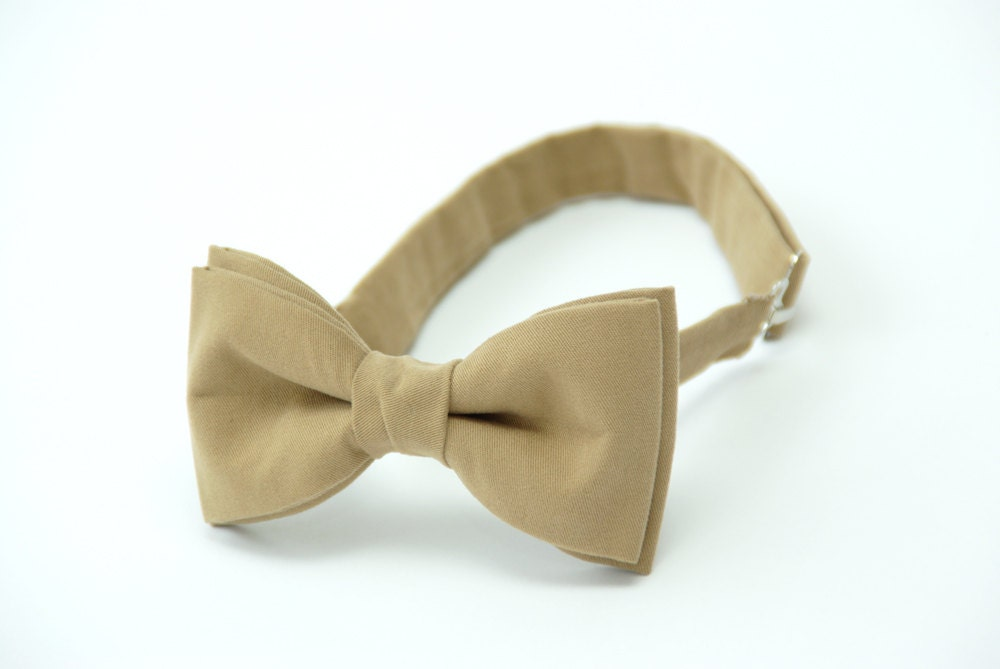Mens bow tie by Bartek Design - groom wedding classic retro necktie chic gift ready to wear -  dark goldenrod beige honey - BartekDesign