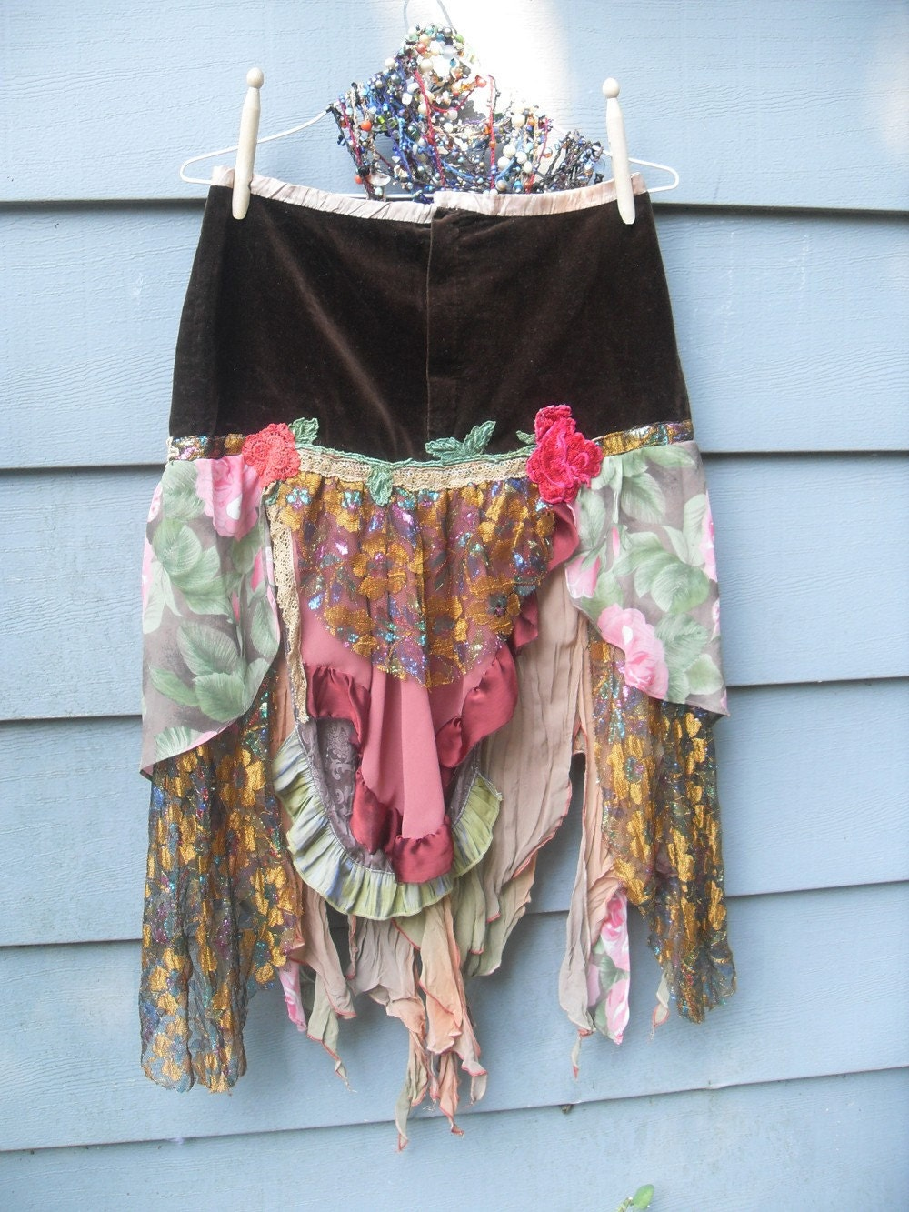 Autumn Rose Gypsy Skirt Upcycled Vintage Boho by SalvationScraps from etsy.com