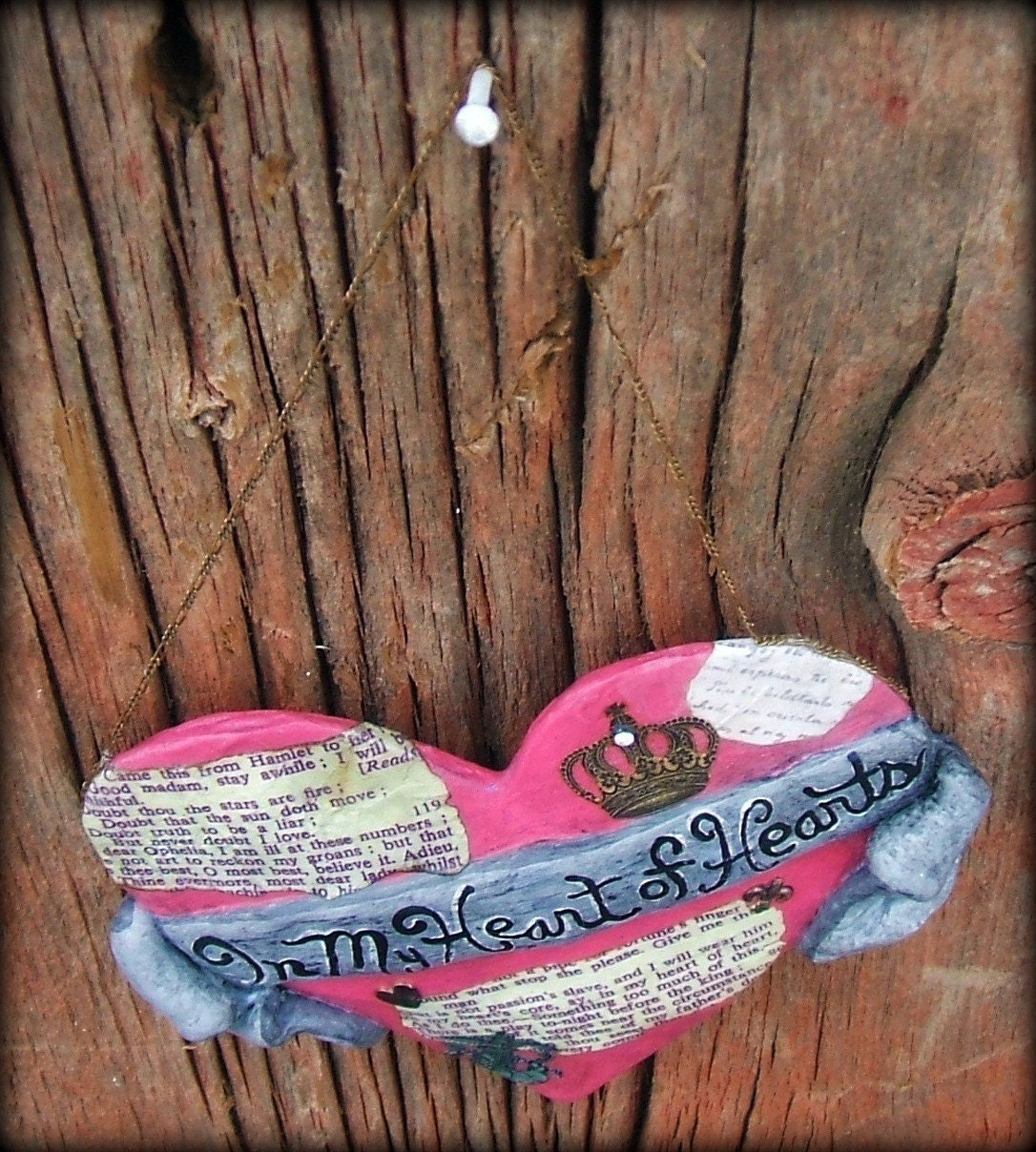 Hamlet Paper Mache Heart, Art, Pink, Decoupage, Upcycled, In My Heart of Hearts