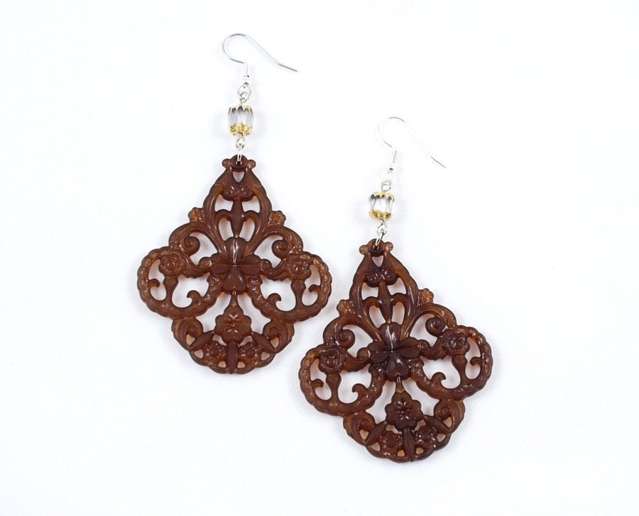 Lucite Vintage Chocolate Brown Filigree Deco Earrings from etsy.com