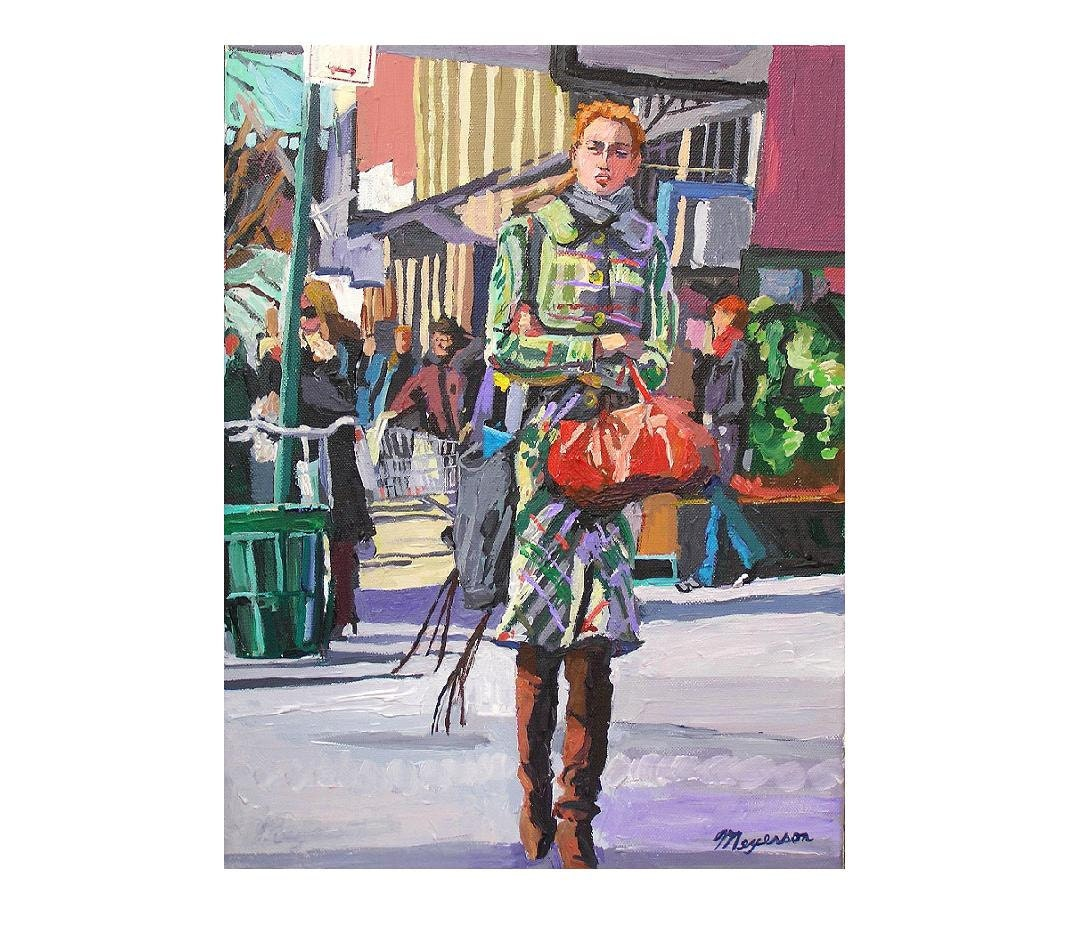 "NYC Fine Art Print 8x10, ""Girl In Plaid Coat"" New York Figurative  lavender green mauve Painting by Gwen Meyerson"