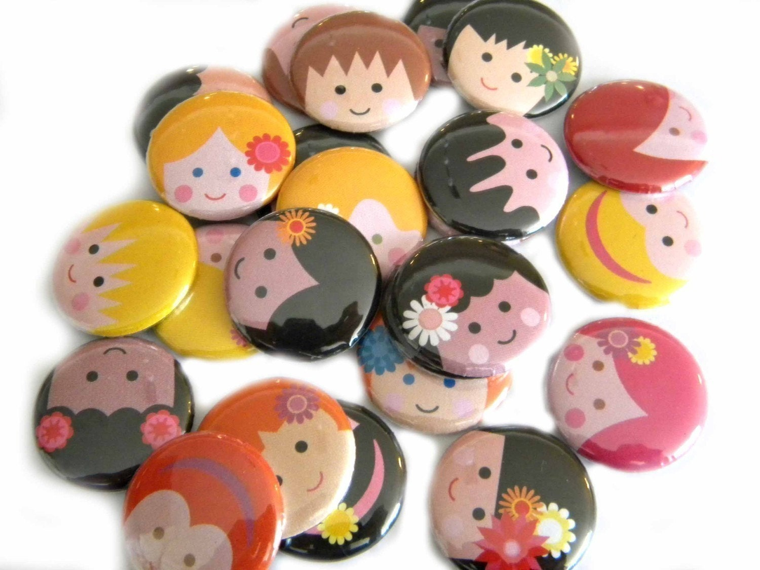 25 Happy Face Children Flat Back Buttons
