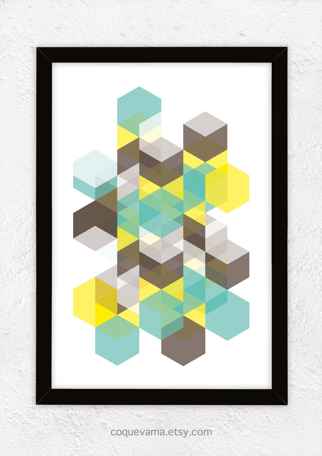 Art Print , A3, Poster, Hexagons - Yellow, Brown and Mint - Coquevama