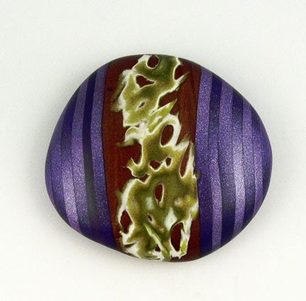 Polymer Clay Cabochon, Eggplant, Bronze, Olive Green
