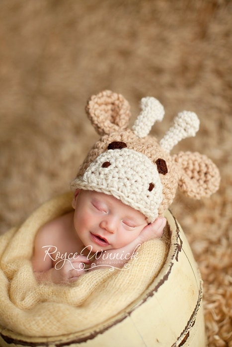Little Giraffe Hat Crochet Photography Prop Ready Item