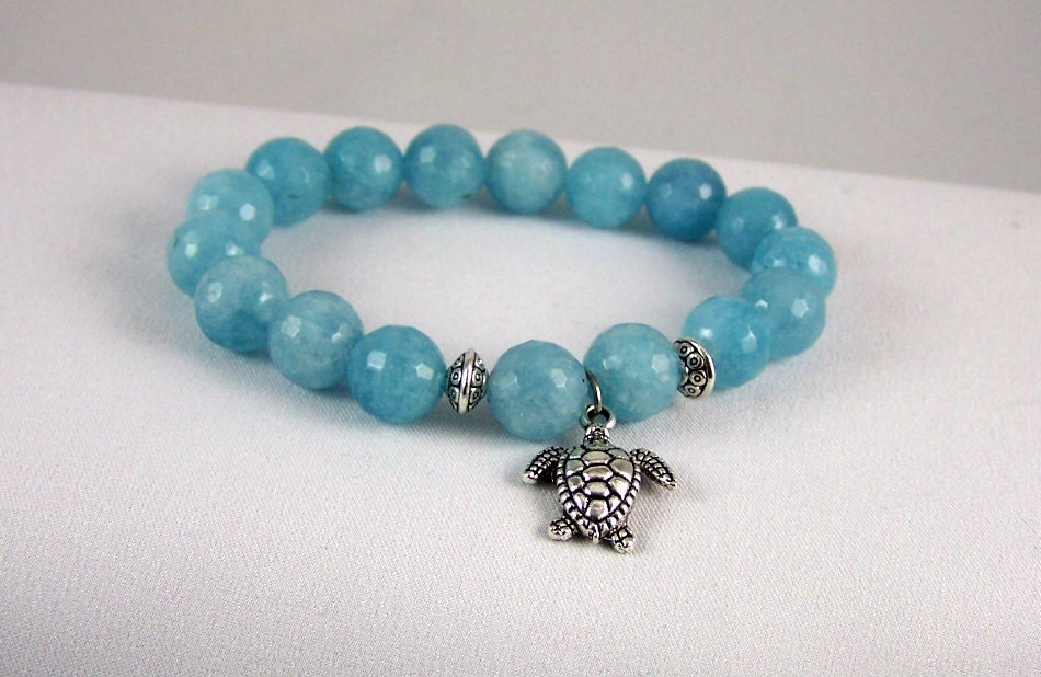 Agate Stretch Bracelet with Turtle Charm, Yoga Inspired, Stretchy Bracelet, Gift for Mom, Free Shipping