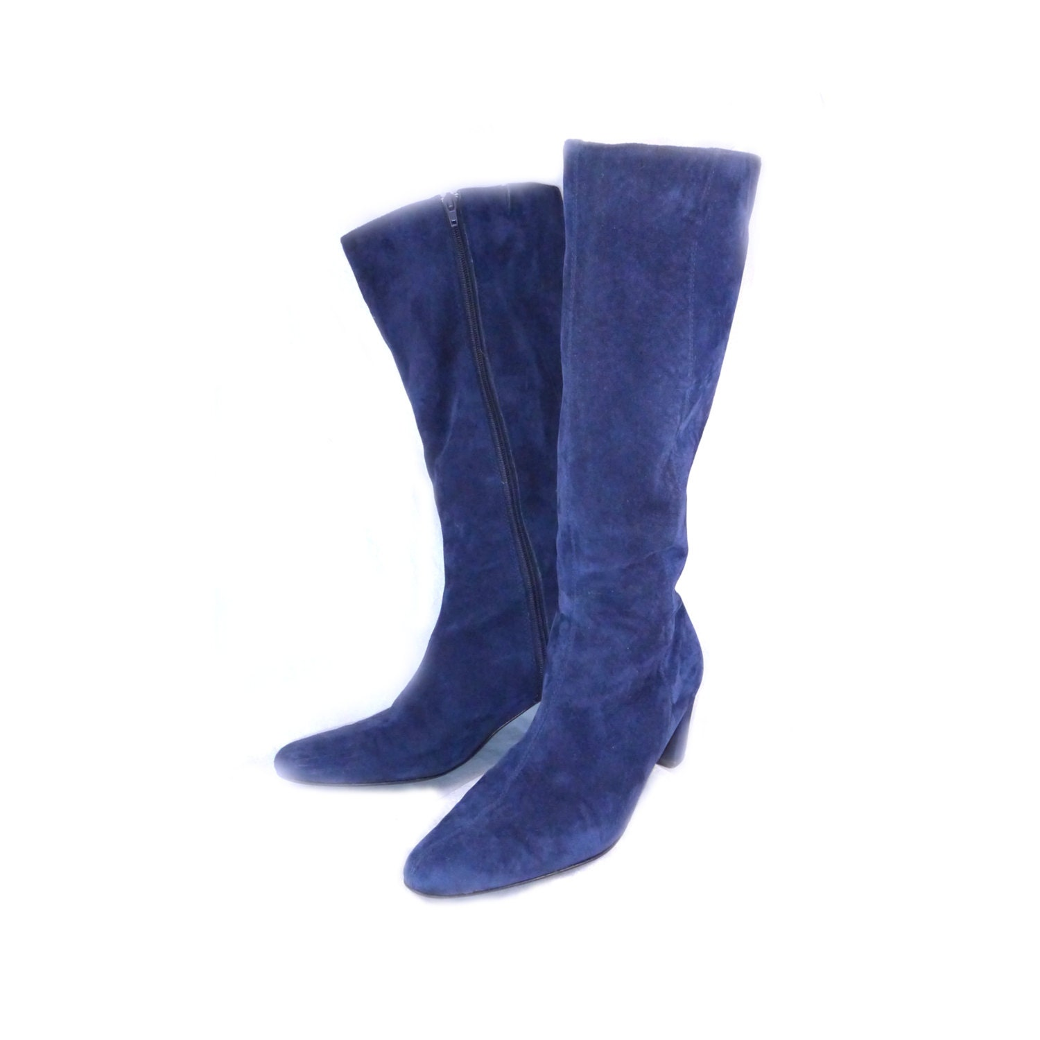 knee high blue suede boots by curatedcloset