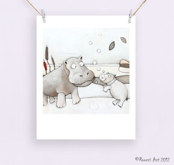 "Hippo Bubbles - African Animal 8x10"" / A4 Fine Art Print. Neutral colours . Hippo and Baby . - RoocciArt"