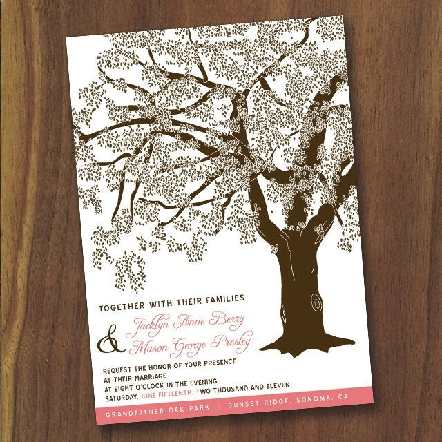 Grandfather Oak Tree Wedding Invitations, You Print, Customized