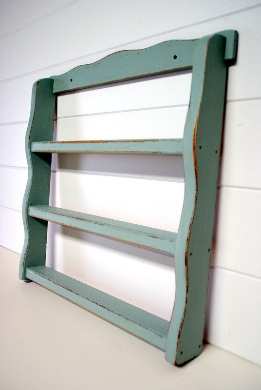 Shabby Chic Spice Rack in Blue by speckleddog on Etsy