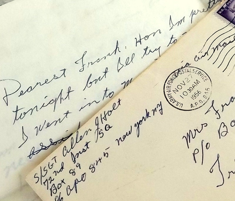 Vintage love letter correspondence with service man and wife, 1950s, - SunshineAndSuitcase