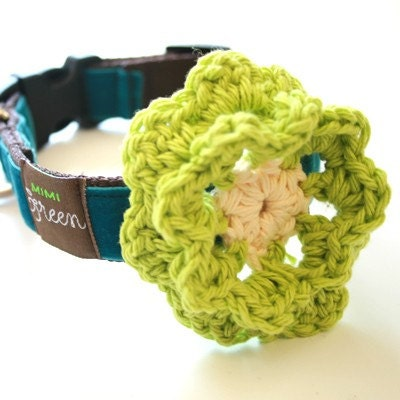 Etsy :: shopmimigreen :: Mimi Green Hand Crochet 'Lemon Lime' Flower -- Season's best Dog Collar Accessory from etsy.com