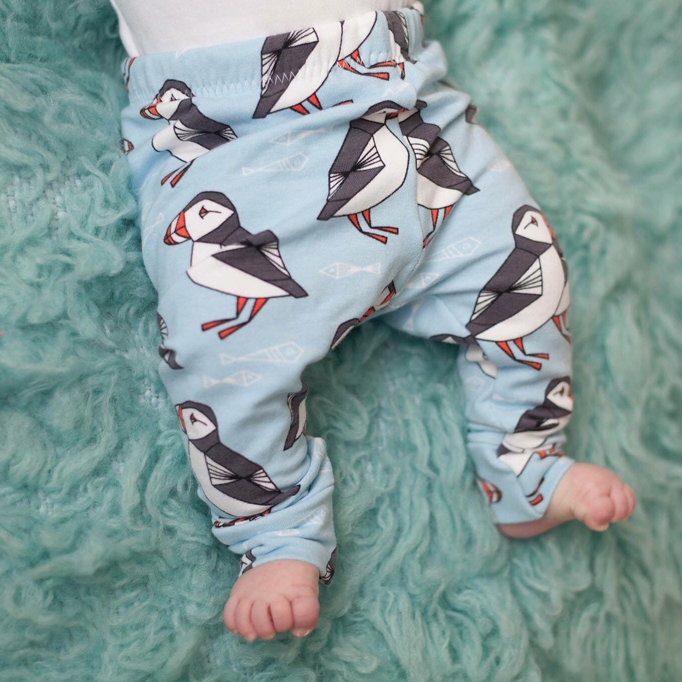 Organic Puffin Baby Leggings  Winter Leggings  Baby Jogging Bottoms  Warm Baby Trousers  Unisex Trousers  Unisex baby Clothes  pants