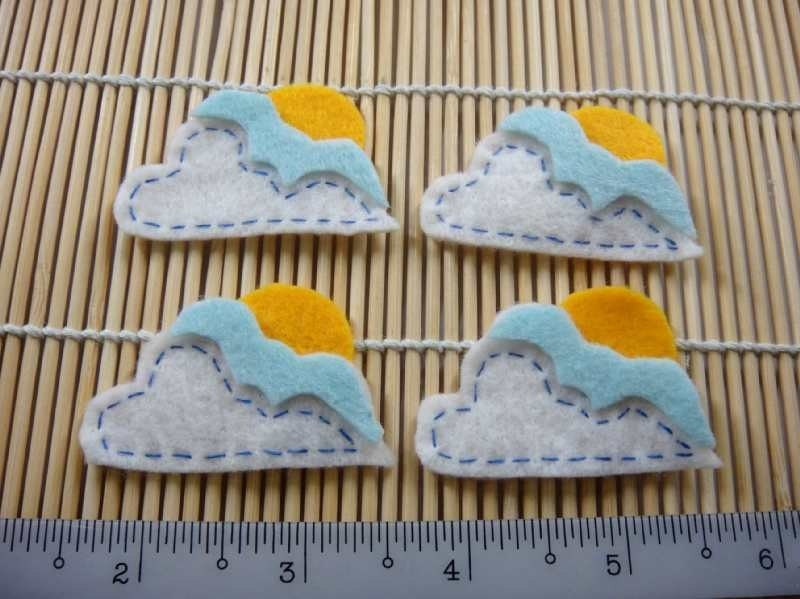 Felt Applique - SUNNY CLOUD - 4 PCS - Handmade