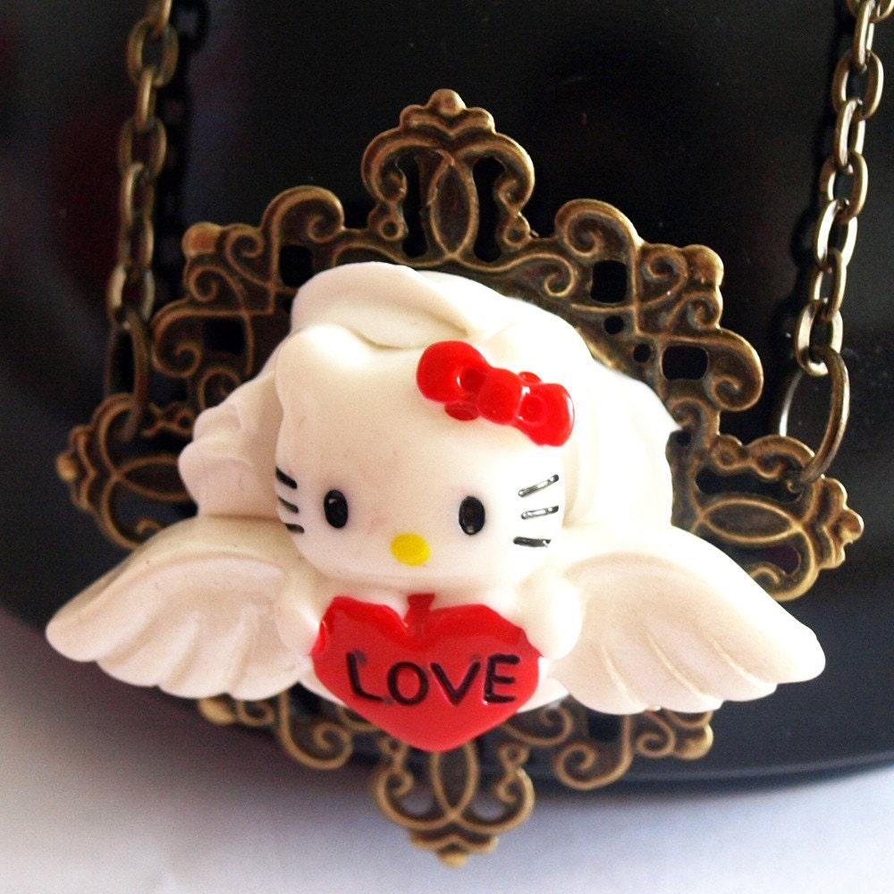 Love Angel Kitty and Cream Necklace by glamasaurus on Etsy