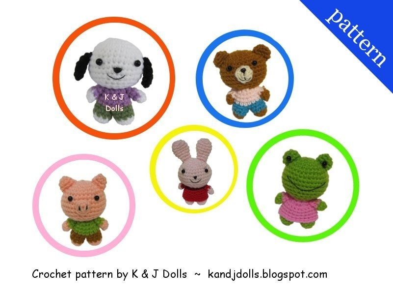 Animal Friends  PDF Amigurumi crochet pattern by Kandjdolls from etsy.com