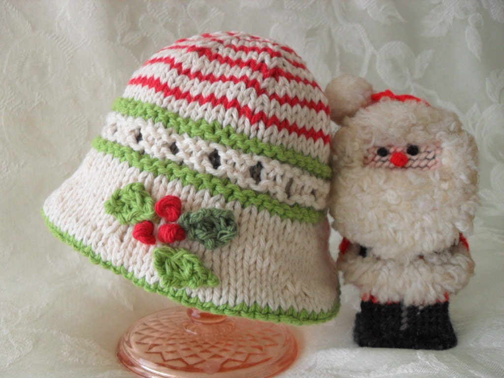 Hand Knitted Baby Hat - Brimmed Bonnet -Cotton Knitted Baby Hat-Children Clothing- Children Christmas - MISTLETOE