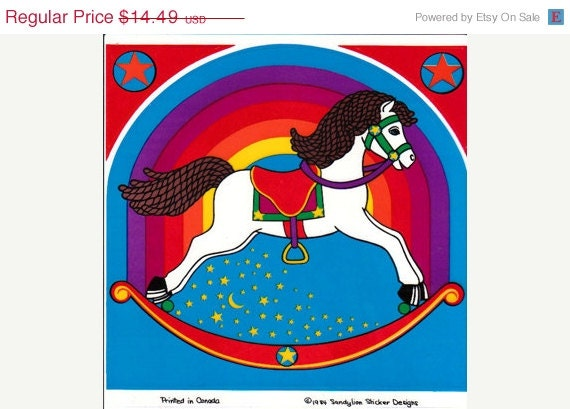 ON SALE HUGE and Very Rare Vintage Sandylion Rainbow Rocking Horse Vinyl Transparent Sticker 80's Childrens Child Bedroom Decor Stained Gla - VintageStickerLove