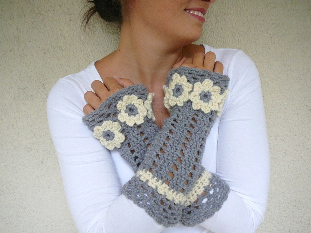 Gray - Ivory Arm Warmers with Flowers