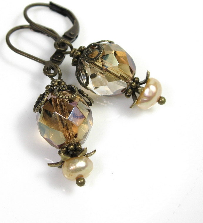 Latte, Amber, Vintage Style Jewelry, Earrings, Czech Glass, Freshwater Pearl, Antiqued Brass