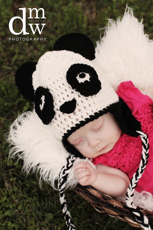Panda Bear Earflap Hat Crochet Pattern : Items similar to Crochet Panda Bear Earflap Hat with ...