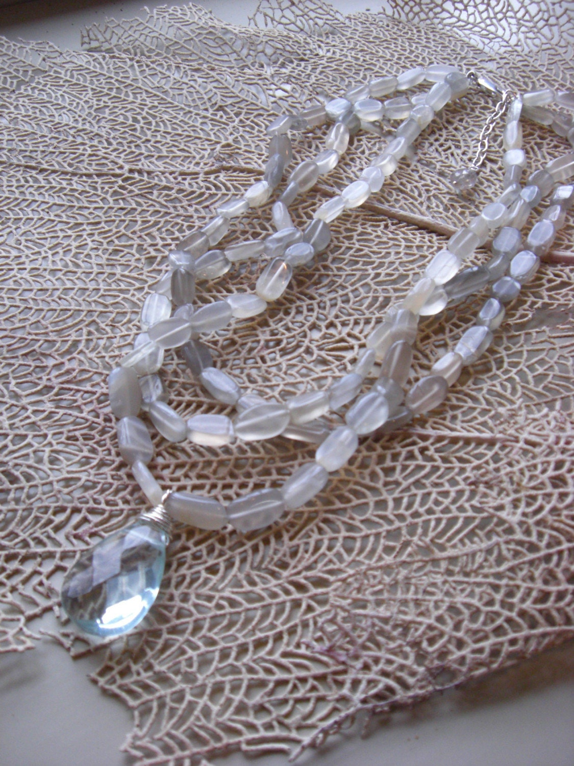 OCEANIA MULTISTRAND NECKLACE, AQUA QUARTZ, MOONSTONE, STERLING SILVER, LABRADORITE