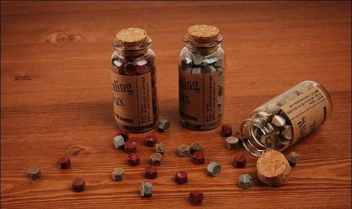 Bottle In Sealing Wax Beads (80ea)