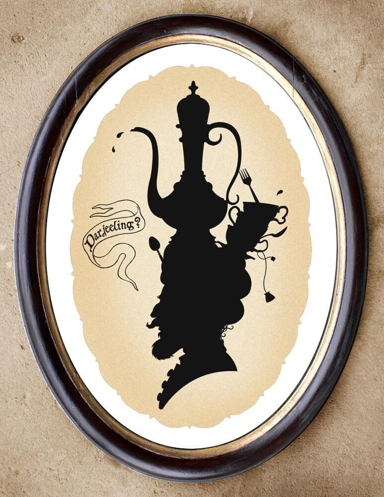 Darjeeling tea silhouette Victorian whimsy art 8.5x11
