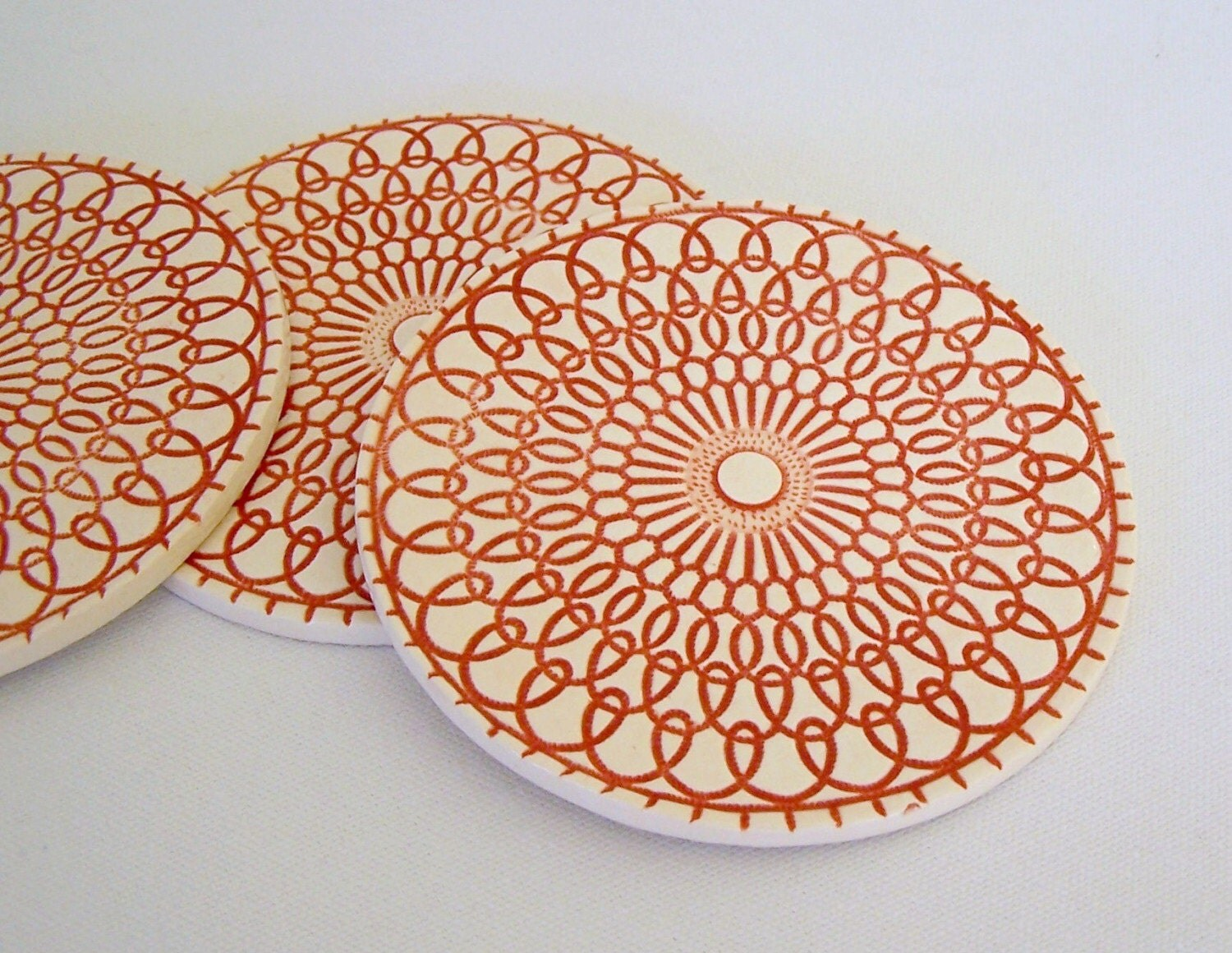 Retro Porcelain Coasters, Set of Four