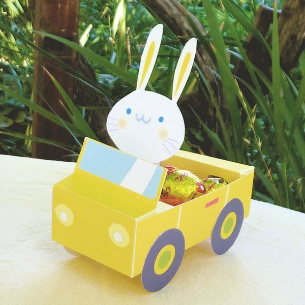 Easter party kit printable pdf favors and decor- bunny car rally