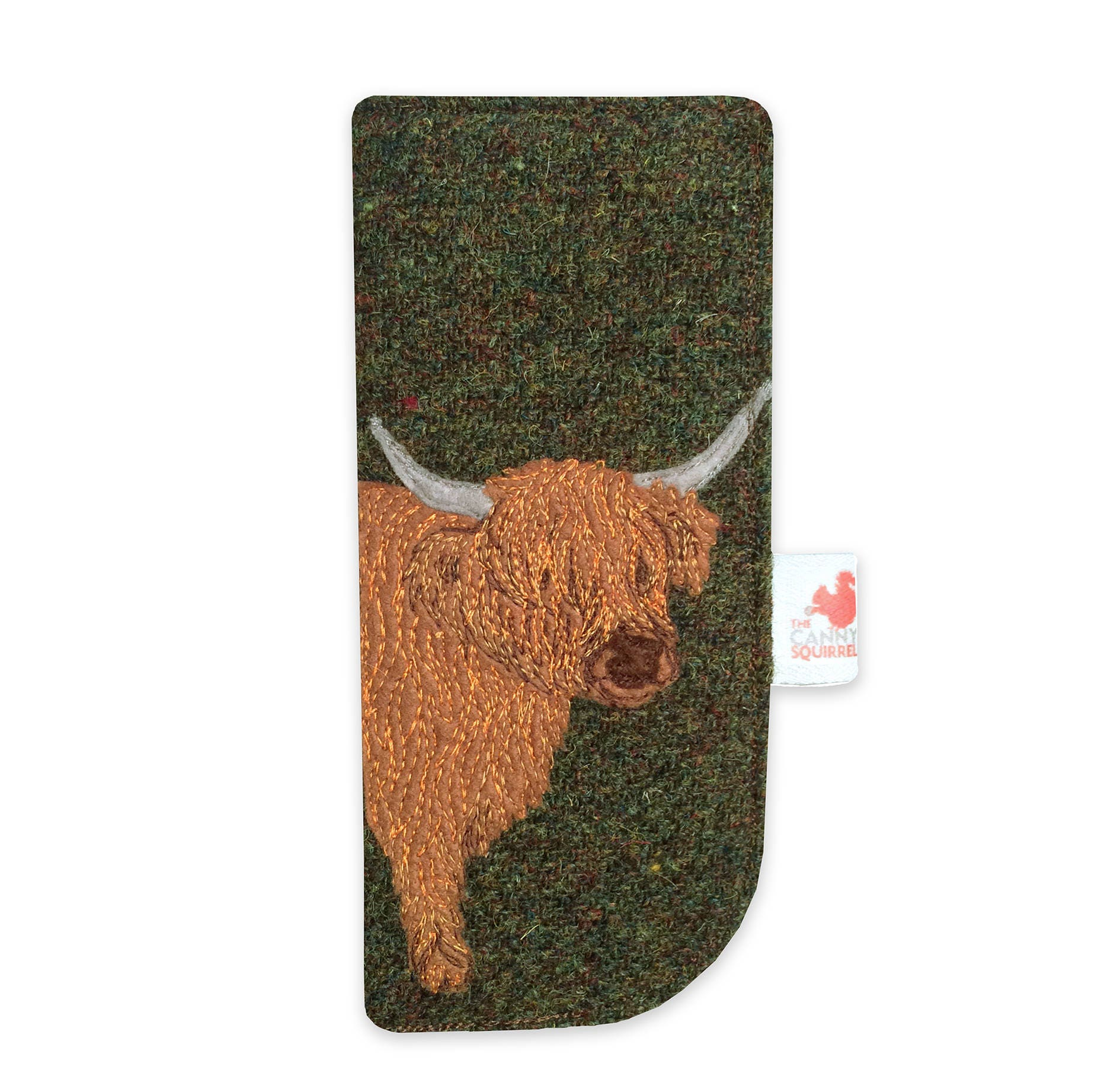 Highland Cow glasses case green Harris Tweed spectacles case sunglasses case
