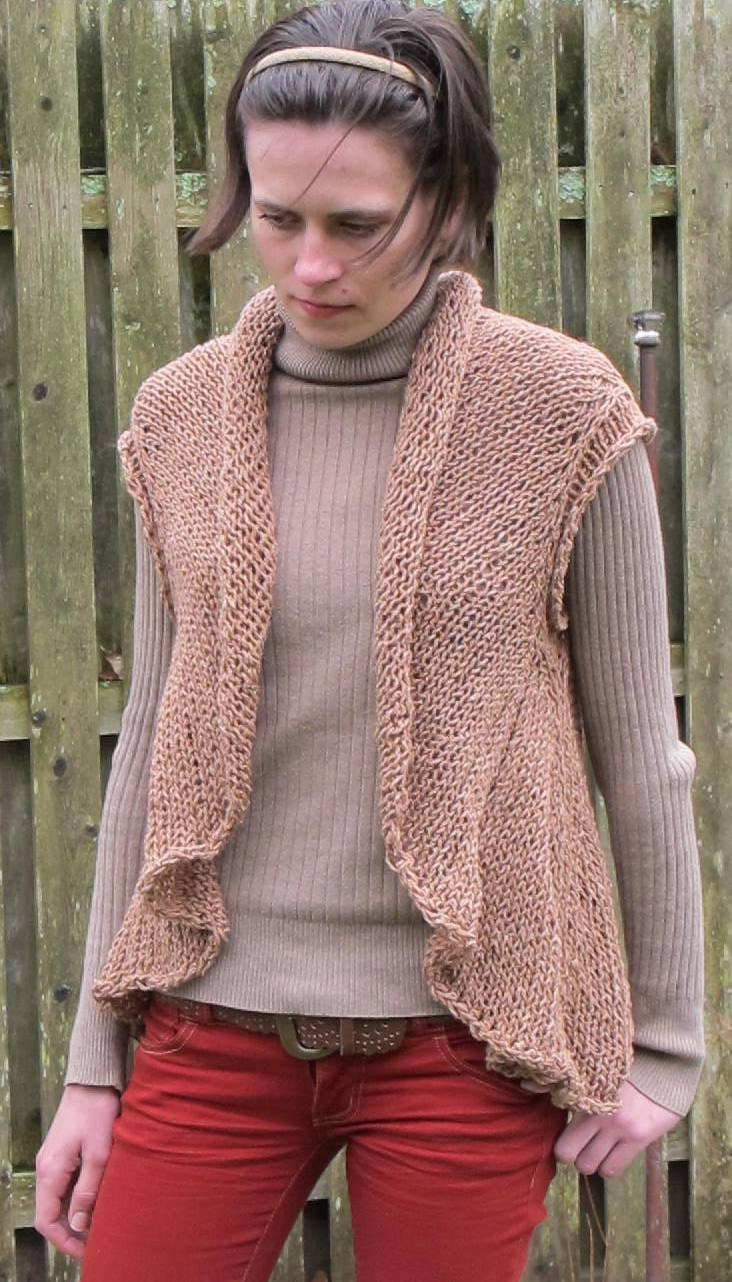 Knitting Pattern For Shawl Collar Vest : Items similar to One Piece Vest, a pdf knitting pattern for a cardigan vest w...