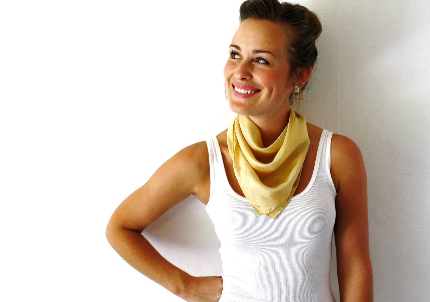 Gold Silk Scarf - Natural Dye- Hand Dyed Silk Scarf - Spring Fashion -Tan Scarf - Autumn - Mothers Day Gift - TheSilkMoon