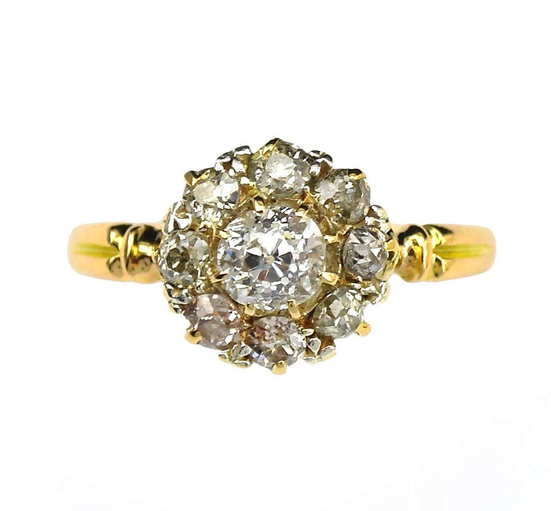 Antique Diamond Cluster Ring yellow Gold Engagement or Anniversary 7.25 (US) or O (UK) flower setting