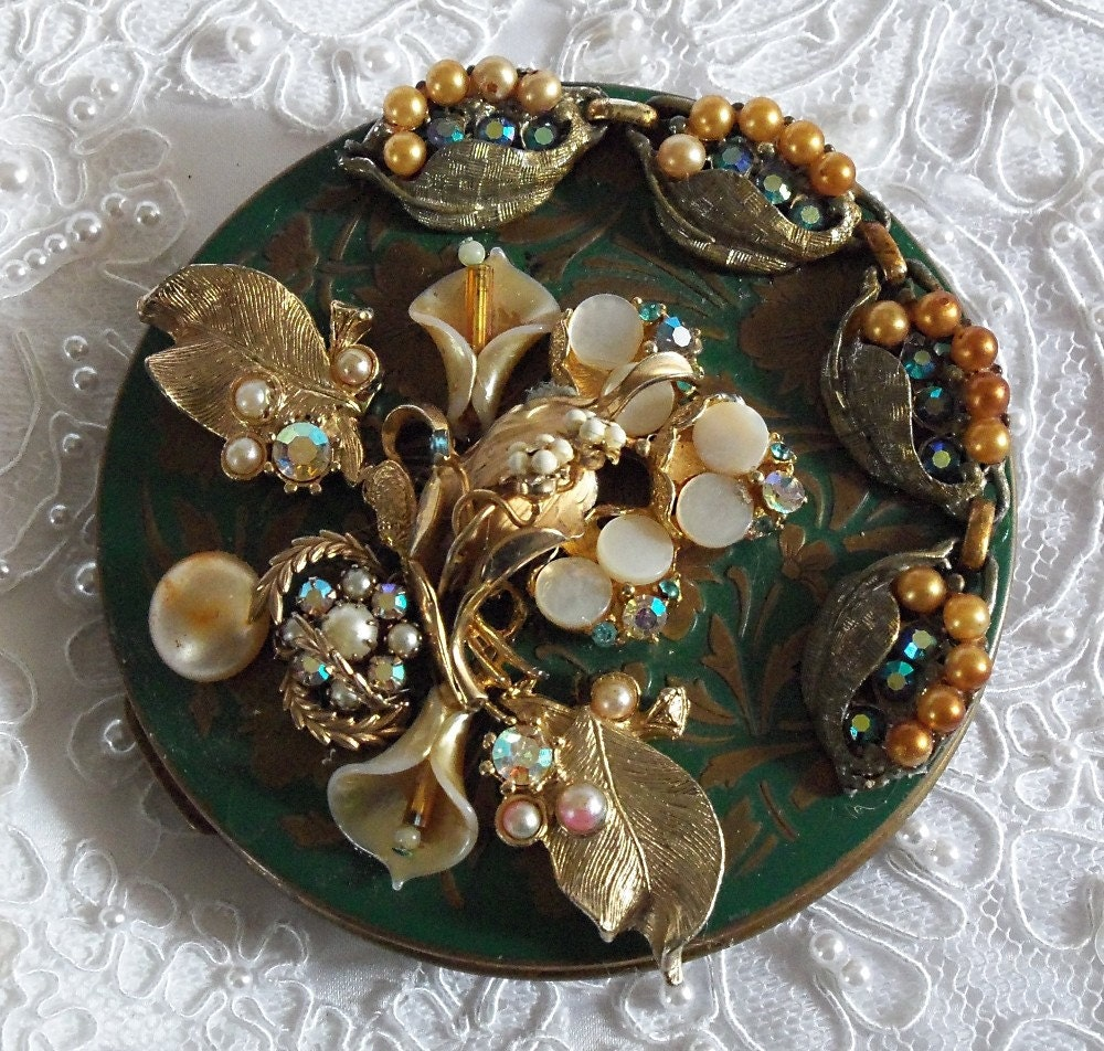 Mirror, vintage green enamel, brass, vintage jewelry, vintage rhinestones, large compact mirror