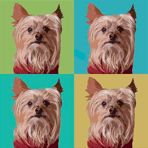 8x8 Cute Terrier pop art photo on watercolor paper for home decor and pet lovers - susansphotoart
