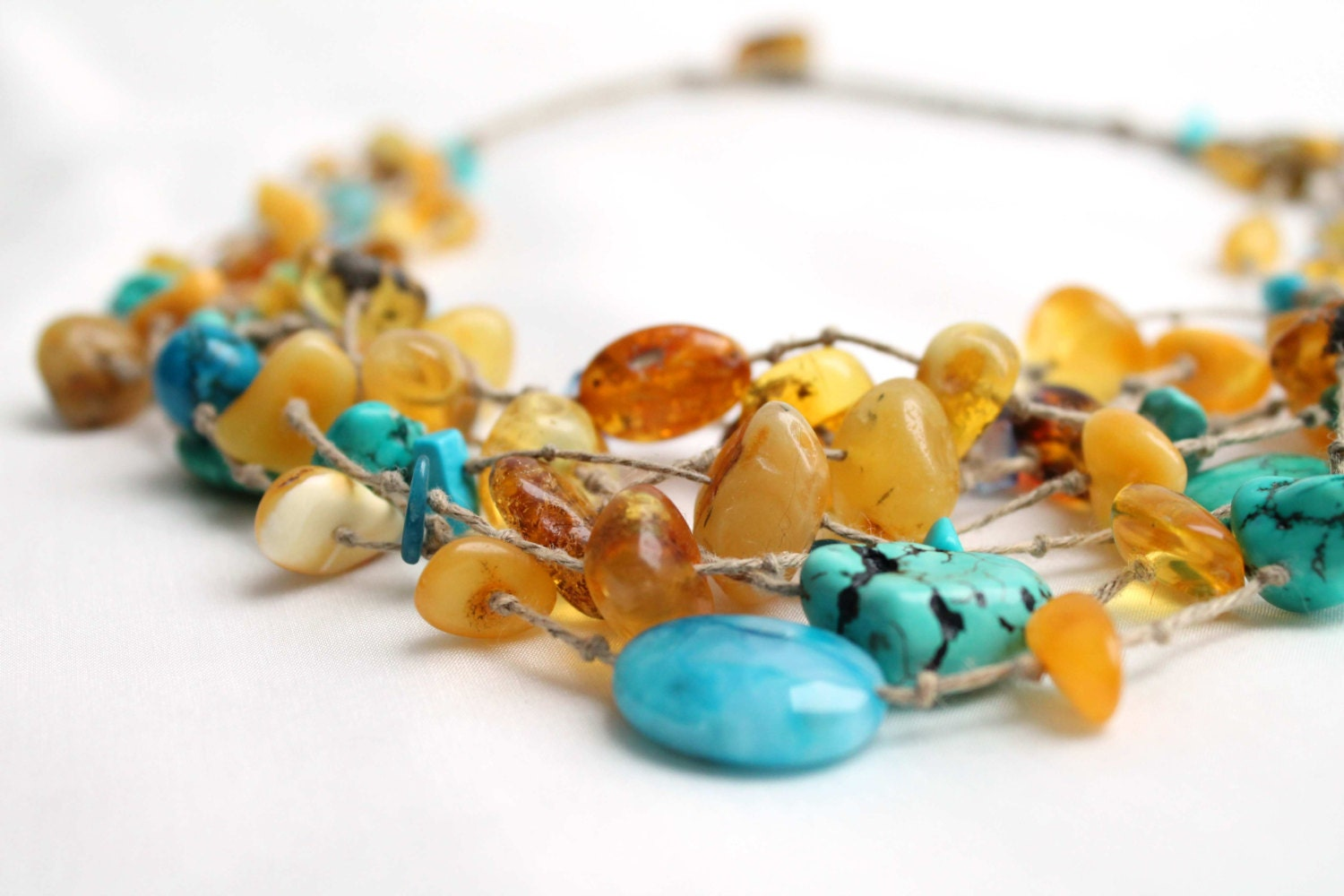 Multi Strand Necklace Yellow Sky Blue Teal Turquoise Jewelry Beach Style Necklace Blue Honey Baltic Amber Sea Finds Summer Fashion Jewelry - DreamsFactory