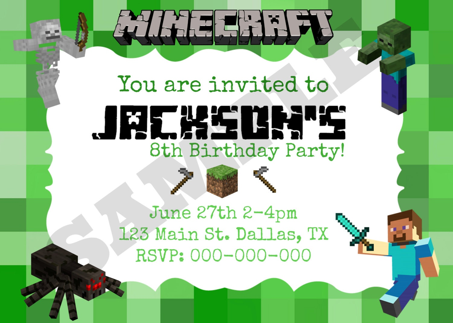 Minecraft Birthday Invitation Template absolutely amazing ideas for your invitation example