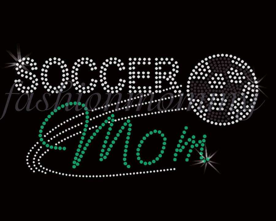 Soccer Mom Swoosh Custom Personalized Rhinestone Transfer Iron On Applique Bling Crystal