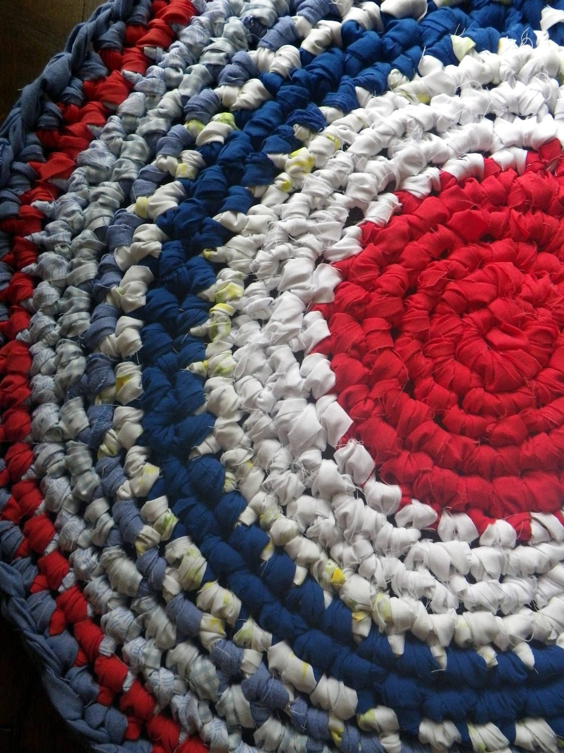 Red White & Blue Cottage Crocheted Rag Rug made from 100% Repurposed Cotton