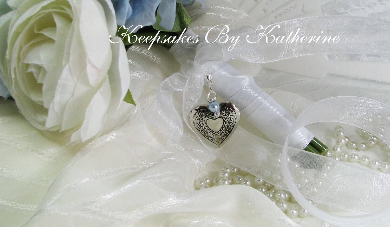 Bridal Bouquet Locket Charm : Brides heart locket large bridal by keepsakesbykatherine