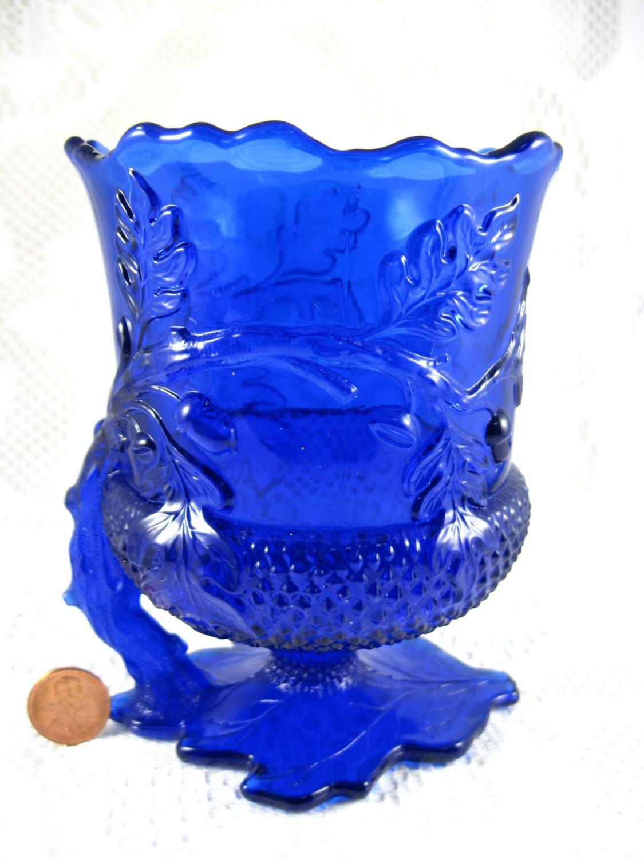 Mosser Acorn Handled Spooner Cobalt Blue Glass Oak Leaves AcornsBlue Oak Acorn
