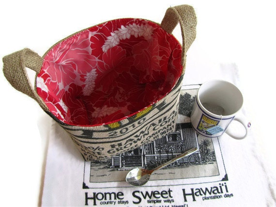 Ready To Ship. Kauai Coffee Bag and Burlap Basket - L. Eco Friendly Storage, Organizer, Gift Basket. Recycled Coffee Bag.